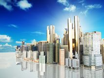 Panorama cityscape modern high-rise buildings panorama of the ce. Ntral part of the city 3d rendering image Stock Photos