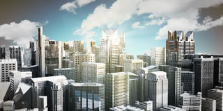 Panorama cityscape modern high-rise buildings panorama of the ce. Ntral part of the city 3d rendering on sky background Royalty Free Stock Photography