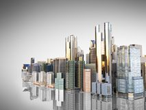 Panorama cityscape modern high-rise buildings panorama of the ce. Ntral part of the city 3d rendering on grey Royalty Free Stock Photos
