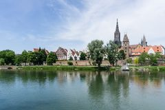Panorama cityscape of Ulm in Baden Württemberg in Germany at blue sky. Panorama cityscape Ulm Baden Württemberg in Germany stock photo