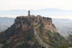 Panorama of Civita di Bagnoregio at morning Stock Images