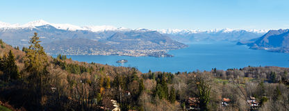 Panorama of clear blue wide Lake -  Varese Royalty Free Stock Photography