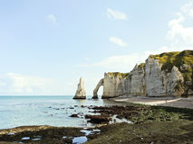Panorama with cliffs on english channel beach. Panorama with natural cliffs on english channel beach of Etretat cote d'albatre, France Royalty Free Stock Images