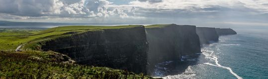 Cliffs of Moher in Ireland. Panorama of the Cliffs of Moher in Ireland stock image