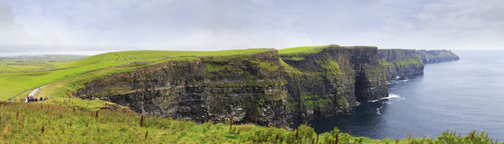 Panorama Cliffs of Moher. Royalty Free Stock Images