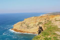 Panorama cliffs ocean Cabo Espichel, Sesimbra, Portugal Royalty Free Stock Images