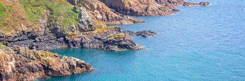 Panorama of the cliffs of the South coast, Guernsey. Panorama of the cliffs of the South coast in Guernsey Stock Images