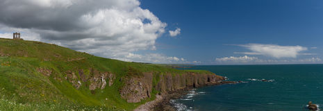 Panorama of the cliffs of Stonehaven Royalty Free Stock Photography