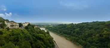Panorama from clifton suspension bridge in bristol stock photos