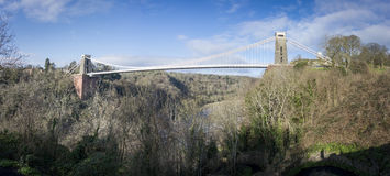 Panorama of Clifton Suspension Bridge pylon, Bath, UK, Bath, UK Royalty Free Stock Images