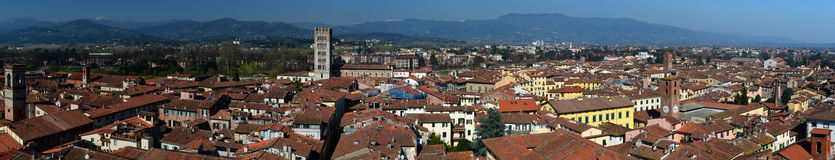 Panorama from the clock tower. Lucca, Tuscany, Italy. Royalty Free Stock Photo