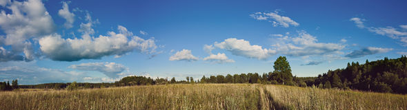 Panorama of clouds and meadow with Instagram style filter Stock Images