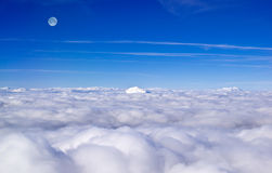 Panorama of clouds from plane Royalty Free Stock Photography