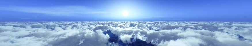 Panorama of the clouds. The sun above the clouds Stock Photo