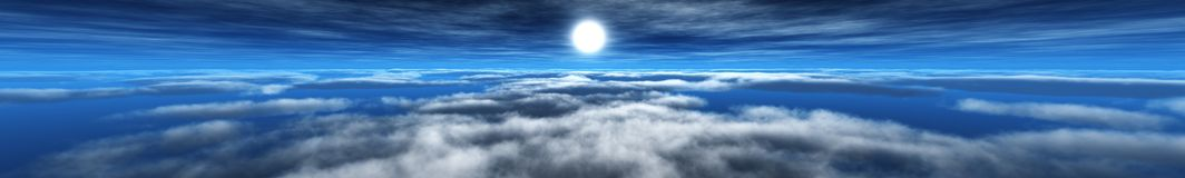 Panorama of the clouds and the sun, the light in the sky, the sun in the clouds royalty free stock photography