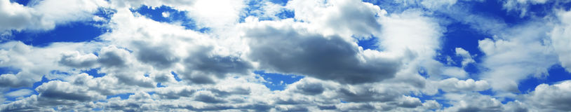 Panorama of the cloudy sky Stock Image