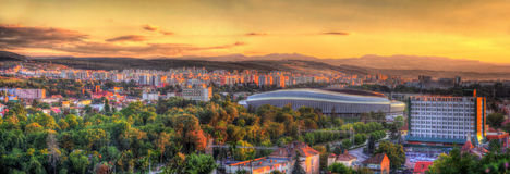 Panorama of Cluj-Napoca with stadium. Romania Royalty Free Stock Images