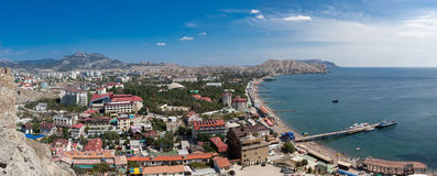 Panorama of the coast of the Black Sea in summer day Stock Images
