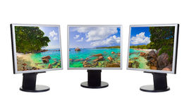 Panorama of coast on computer screens Royalty Free Stock Images