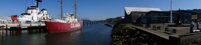 Panorama,  Coast Guard Cutter  and Lightship. ASTORIA, OREGON - OCT 1, 2015 - Coast Guard Cutter Alert, 630,  and Lightship Columbia, anchored at the   Columbia Stock Photos