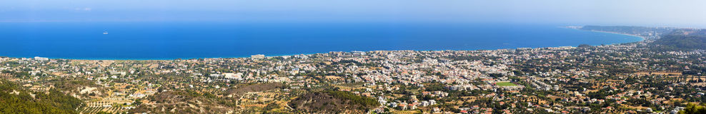 Panorama of the coast of the island of Rhodes with the Aegean. Panorama landscape of surfing beach on Rhodes royalty free stock image