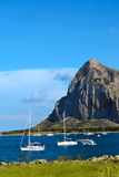Panorama of the coast of Trapani with mount hood Stock Photo