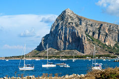 Panorama of the coast of Trapani with mount hood Royalty Free Stock Image