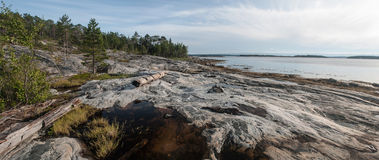 Panorama of the coast of the White Sea Royalty Free Stock Photo