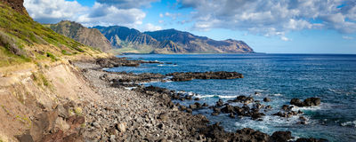 Kaena Point Landscape Panorama. Panorama coastal landscape and seascape of Kaena Point National Park on Oahu, Hawaii north shore royalty free stock photo