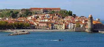 Panorama of a coastal Mediterranean village Stock Photos