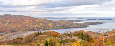 Panorama of  Coastal Scene on the Cabot Trail. (Cape Breton, Nova Scotia, Canada Royalty Free Stock Photos