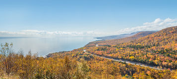 Panorama of Coastal Scene on the Cabot Trail Royalty Free Stock Images