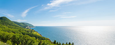 Panorama of a coastal scene on the cabot trail Stock Image