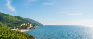 Panorama of a coastal scene on the cabot trail Stock Images