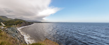 Panorama of Coastal Scene on the Cabot Trail in Nova Scotia Royalty Free Stock Images