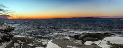 Panorama of  Coastal Scene at Peggys Cove's Stock Photo