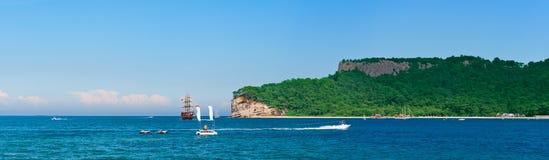 Panorama of coastline in Kemer. Panorama of mediterranean coastline in Kemer, Antalya, Turkey stock photos