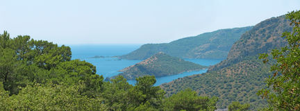 Panorama of coastline of mediterranean sea turkey Stock Photo
