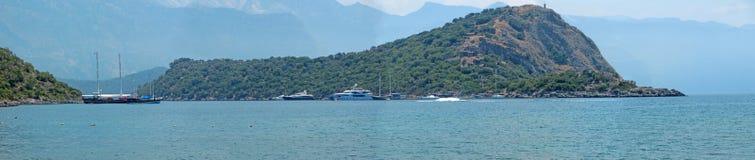 Panorama of coastline of mediterranean sea turkey Stock Image