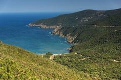 Panorama of coastline near Mamba Beach Ampelos at Sithonia peninsula, Chalkidiki, Central Macedonia, Greece. Amazing panorama of coastline near Mamba Beach royalty free stock image