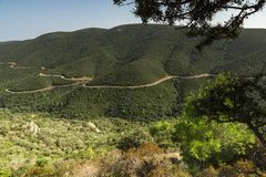Panorama of coastline near Mamba Beach Ampelos at Sithonia peninsula, Chalkidiki, Central Macedonia, Greece. Amazing panorama of coastline near Mamba Beach stock photography