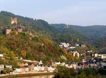 Panorama of Cochem with Castle, Mosella, Germany. Panoramic view to Cochem. Cochem is a small town located in Germany, Europe. It is well known for its river Royalty Free Stock Image