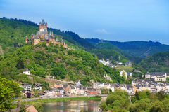 Panorama of Cochem with Imperial castle Royalty Free Stock Photography