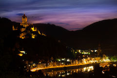 Panorama of Cochem on the mountain and Mosel river Royalty Free Stock Images