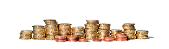 Panorama coin stack Stock Image
