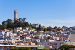 Panorama and Coit Tower with San Francisco view Royalty Free Stock Photos