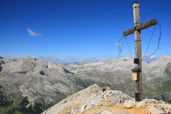 Panorama from Col Bechei. The beautiful cross placed on the top of the Col Bechei, Dolomites Stock Photography