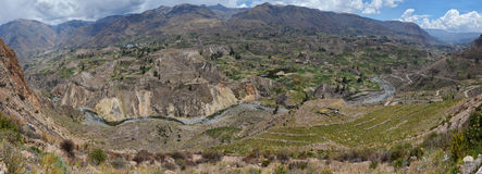 Panorama of Colca valley in Peru. Royalty Free Stock Images
