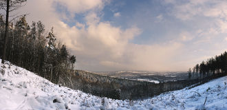 Panorama of cold and frosty snowscape. At sunrise. The town in the background is called Dorking Stock Images