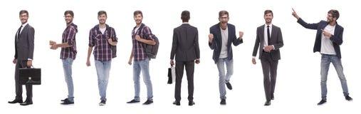 Panorama- collage av denmotiverade unga mannen Isolerat p? vit royaltyfri foto